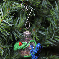 Blue Frog Dendrobates Azureus Christmas ornament glass ball Polymer clay