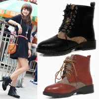 Retro Vintage Short Ankle Boots Lace Up Flat Shoes Women Lady Girl Winter Fall