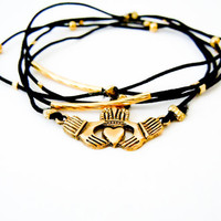 Irish Claddagh Bracelet Set (Gold and Black)