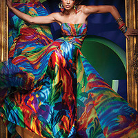 Prom Dresses, Celebrity Dresses, Sexy Evening Gowns at PromGirl: Strapless Rainbow Color Print Chiffon Dress