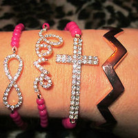 Pink Cross Love Infinity Eternity Chevron Rose Gold Arm Candy Bracelets Set (4)