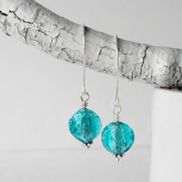 Beaded Earrings Aqua Glass Dangles Rustic Style Rough Foil Glass Antiqued Silver Minimalist Glass Bead Jewelry Handmade