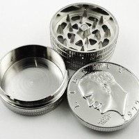 Silver Dollar Herb Grinder With Pollen Catcher #3