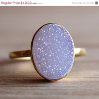 WINTER SALE Gold Soft Pink Druzy Ring - Gemstone Ring - Gifts Under 50