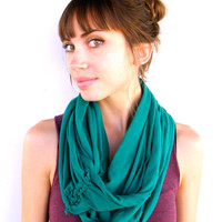 Teal Infinity Scarf - American Apprel Jersey Knit - All Seasons - Winter, Spring, Summer, Fall