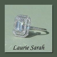 Emerald Cut Diamond Engagement Ring with double halo - LS1432