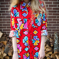 Vintage Red Button Up Oversized Pocket Blouse