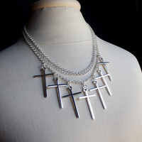Cross Statement Necklace:  Silver Chain Triple Strand Necklace, Multi Cross Charm Edgy Gothic Jewelry