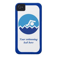 Swimming gifts, swimmer on a blue circle custom iPhone 4 cover from Zazzle.com