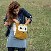 Owl purse in mustard yellow with tribal print applications, everyday bag, fall fashion -made to order