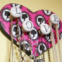 Jewelry Display, Necklace Hanger, Silhouette, Love, Pink and black