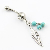 316L Surgical Steel 14 Guage Leaf Dangle With Blue Beads Navel Belly Button Ring Bar