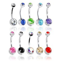 Lot of 10 Double Jeweled CZ Crystal Gem Belly Button Navel Rings 316L Surgical Steel 14 Gauge (10 Pi