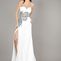 Jovani 1927 Strapless White/Blue Prom Dress