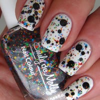 Nail polish - &quot;Abstract canvas&quot; black and multi coloured glitter