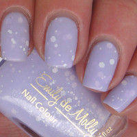 "Nail polish - ""Simplicity"" matte white glitter in a pastel purple base"