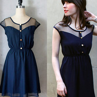PETIT DEJEUNER DRESS - Navy blue chiffon dress with black lace neckline // retro // vintage inspired // nautical // bridesmaid dress