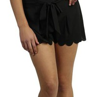 black club shorts with scallop hem - debshops.com