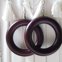 Wood Hoop Earrings/  Eco Upcycled Minimalist Earrings Jewelry Limited Edition