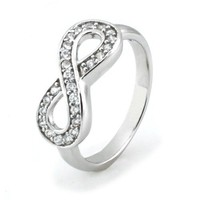 Sterling Silver Infinity Ring w/ Cubic Zirconia (Size 8) Available Size: 4, 4.5, 5, 5.5, 6, 6.5, 7,