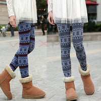 Knitted Colorful Crystal Pattern Casual Comfortable Leggings Tights Pants
