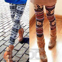 *New Women's Nordic Deer Snowflake Knitted Leggings Tights Pants