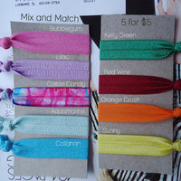 Mix and Match No-Dent Elastic Tie Dye Hair Ties - 5 for 5 dollars