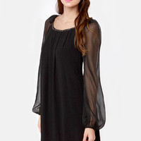 Falling Stars Beaded Black Shift Dress