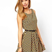 Glamorous Belted Skater Dress in Geo Diamond Print at asos.com