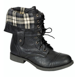 Fantastic Women39s Lace Up Ankle Boots Plaid Fold Over Cuff Combat Shoes Black