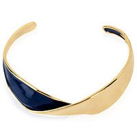 Robert Lee Morris Necklace, Gold-Tone Navy Twisted Collar Necklace - Fashion Necklaces - Jewelry & Watches - Macy's