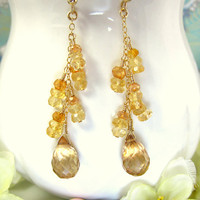 Sun Kissed Mystic Quartz Citrine Dangle Earrings