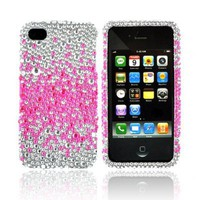 iPhone 4S 4 Hot Pink Splash Silver Bling Hard Plastic Case (1 Pc.)