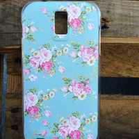 T Mobile Samsung Galaxy S2 Floral Baby Blue Case