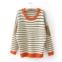 Winter Round Neck Bat Sleeves Elbow Patch Striped Sweater 4 Colors