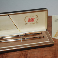 Vintage 1975 Cross Writing Instruments 14KT. Gold Filled Ball Point Pen and Mechanical Pencil Set