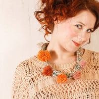 Crochet necklace Knit necklace Pompom necklace Ivory orange pink Winter accessories Gift for her Warm necklace Cozy necklace Fiber necklace