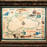 Black Sea Region Map Print of a 1559 Map on Parchment Paper