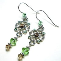 Swarovski Lt Colorado Topaz and Peridot .925 Chandelier Earrings