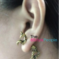 3D Unicorn Ear Studs (Vintage Gold) - the85stylePeople
