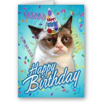 Happy Birthday Grumpy Cat Greeting Cards from Zazzle.com