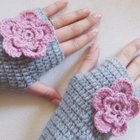 Gloves, Fingerless, Handmade Crochet Fingerless gloves, with pink flower, Women accessories. Grey Gloves