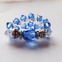 Swarovski Sapphire Crystal Birthstone September Stretch Ring