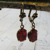 Holiday Earrings, Estate Earrings, Vintage Red Siam Rhinestone Dangle Earrings, Antiqued Brass Lever Back Earrings