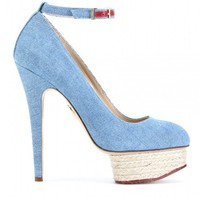 Charlotte Olympia DOLORES DENIM DETAILED ESPADRILLE PUMPS