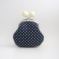 White Bead Coin Purse - navy blue polka dots