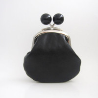 Black Bead Coin Purse - simple black small pouch