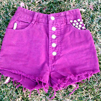 Sale Oxblood Red premade studded shorts---Size 0 Or 1 they are not purple