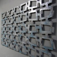 MOD Retro Squares No 2 Floating Wall Art 23 X 46 by studio724
