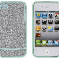 DandyCase Sea Green with Silver Sparkles Case for Apple iPhone 4, 4S - AT&T, Verizon, Sprint - Inclu